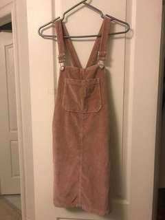 Topshop velvet overall dress