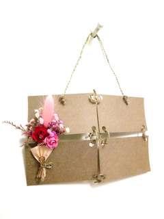 🚚 乾燥花+手工花花束超美卡片(可貼上自己照片再掛牆)(四張名片組合大小)婚禮小物,生日禮物,交換禮物,生日卡片