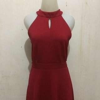 [NEW] RED DRESS MERAH IMLEK HALTER NECK SIMPLE PARTY CASUAL LONG