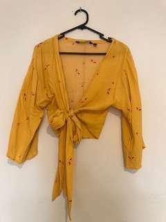 Glassons floaty yellow tie up top