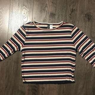 Striped Navy Blue White Red Beige Lettuce Trim Crop Top Shirt