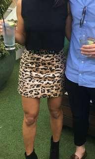 Top shop sparkly leopard mini skirt