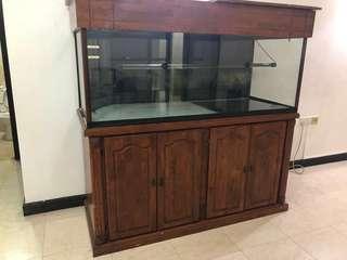 Big aquarium with solid wood frame