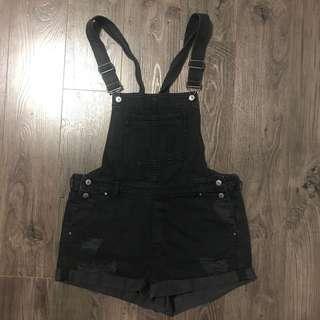 Black Denim Overalls Shorts Distressed