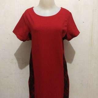 [PRELOVED] DRESS CASUAL RED MERAH SIMPLE ELEGANT IMLEK MERAH PARTY