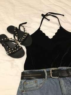 """black """"velvet"""" bodysuit scoop neck M-L"""