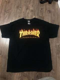 Thrasher Black Flames Fire Shirt Top