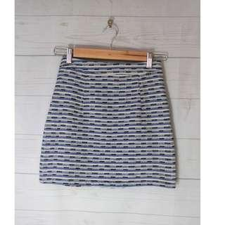 Luvalot Blue Stripe A-Line Mini Skirt Size 8