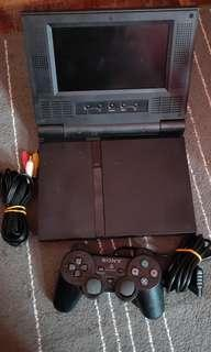 Sony PS2 Built In LCD Screen Black Slim Edition