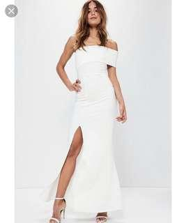 Misguided White Evening Gown (Size 4)