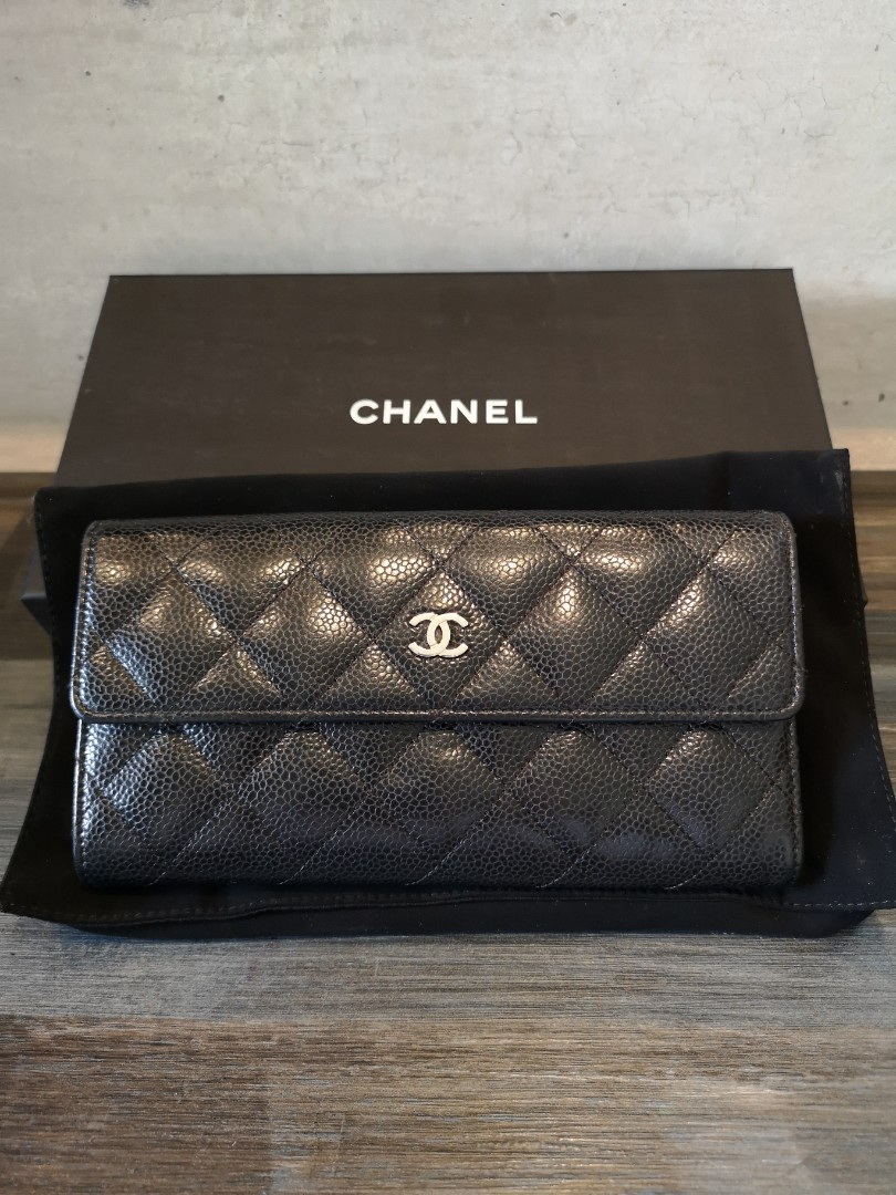 6fe7485c8115 100% Authentic Chanel Long Wallet in Caviar - Silver Hardware ...
