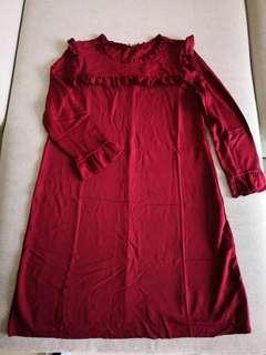 Zara wine color dress
