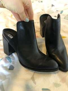 Black leather heel boots