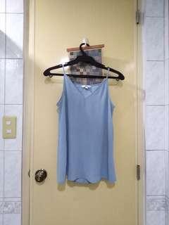 Uniqlo vneck camisole in dusty blue & white
