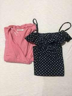 Polka-printed Dress + Free Cardigan