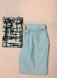 Powder Blue Trouser + Free Printed Blouse