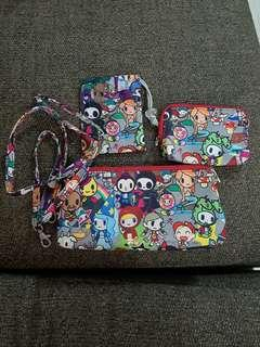 🚚 Tokidoki fairytella medium ,small and be neat pouch