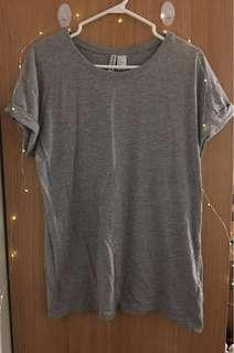Grey H&M T-shirt dress rolled up sleeves