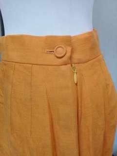 🚚 古董亮橘色A字修身高腰鉛筆短裙vintage古著