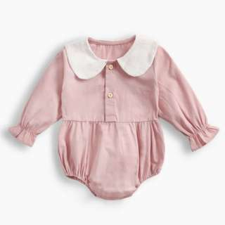 d2e42934518f 🌟INSTOCK🌟 Scallop Collar Pastel Pink Overall Puff Sleeves Romper Newborn  Baby Clothing Kids