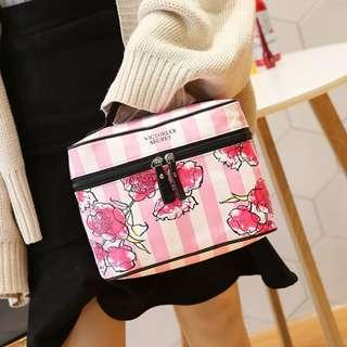 ⚡⚡PO SALE⚡VS Victoria's Secret Floral Stripe Pink Multi-Purpose Zip Top Box Bag / Cosmetic Pouch PO111500175b + Free Post