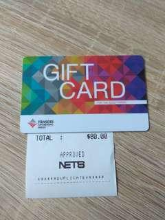 Fraser centrepoint malls Gift Card S$80 sell for S$75