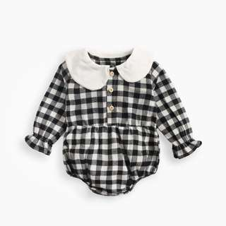 3b8c16921d6b 🌟INSTOCK🌟 Scallop Collar Button Gingham Puff Long Sleeves Overall Onesie  Knit Cotton Romper