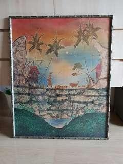 Beautiful Framed Batik Cloth Painting