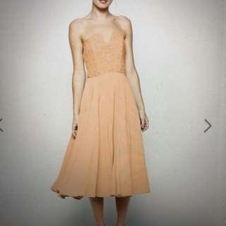 Jarlo Peach Midi Dress Floral