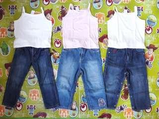 EEUC barely used Mothercare and Guess denims with tank top for kids