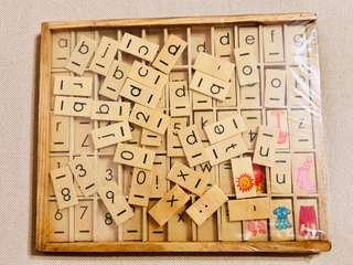 Wooden Alphabet and Numeral Box