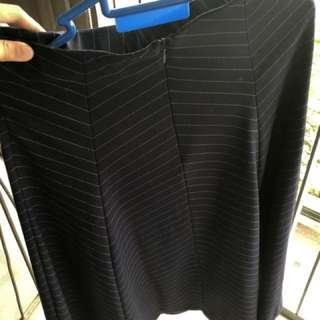 Zara pinstripe flare a line midi skirt