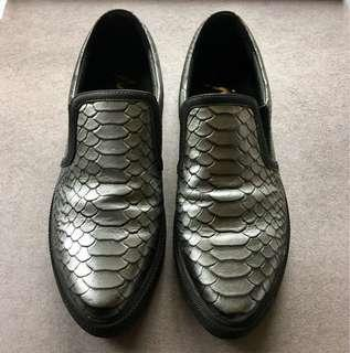 Antique Pewter Faux Reptile Shoes
