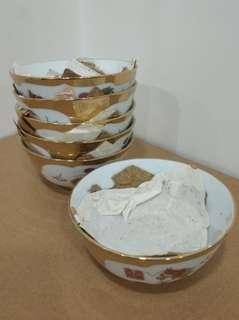 景德鎮 藝術瓷廠 ==D== 金地龍鳳 4吋半 平口碗 6隻 (文革後) 瓷器 飯碗