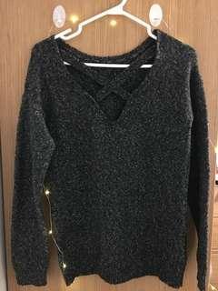 Dark grey sweater with open criss cross back (Garage)
