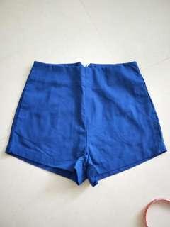 High Waist Electric Blue Shorts