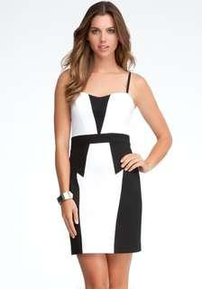 Bebe Colorblock waist fitted dress