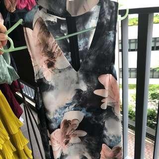 Quiz high collar a line dress floral