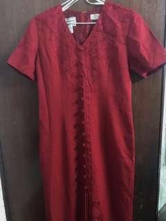 典雅刺繡質感紅色長洋