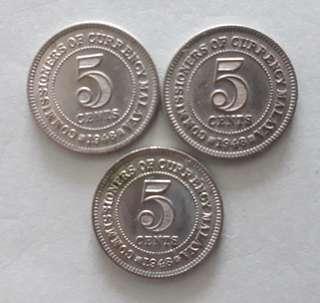 Malaya 3pcs of King George 5ct