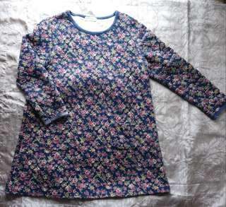 韓國夾棉玫瑰花連身裙