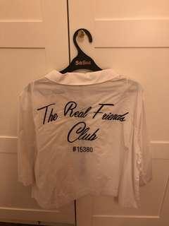 Zara the real friends club boxy white shirt