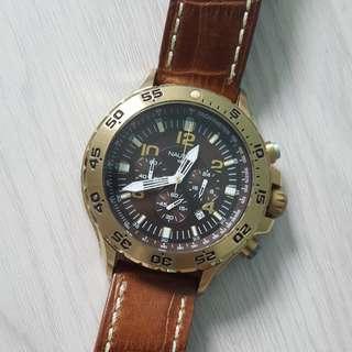 🚚 Nautica gold brown watch N18522G