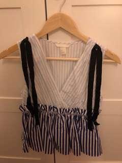 H&m blue stripe top beachwear summer