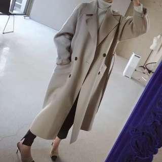 收腰綁帶闊型大衣秋冬新款寬鬆顯瘦中長款韓版過膝毛呢大衣