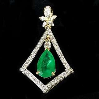ELEGANT 18K YELLOW GOLD EMERALD PENDANT WITH DIAMONDS
