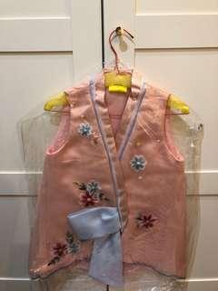 viora wrap modern kimono pink pastel top flower embroidered