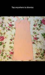 Brand New Pink One Piece Basic Slit Long Dress