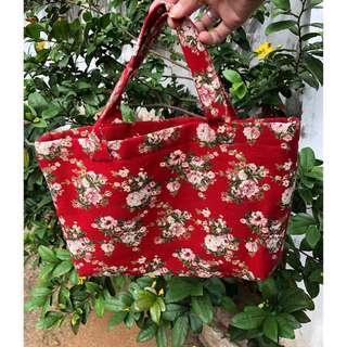 🚚 日本🇯🇵織造棉麻手提包 提花帆布包 花卉 滿版 喜氣 紅色 收納 古著風 復古懷舊 Vintage