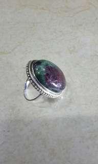 Vintage handmade silver 925,Ruby ziosite ring.